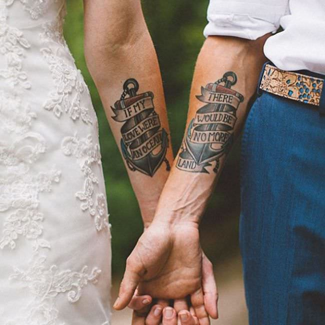 4f087abc6f546 A split tattoo can be a risky move towards commitment to a certain  relationship – From family and friends, and to that risk couple tattoo.