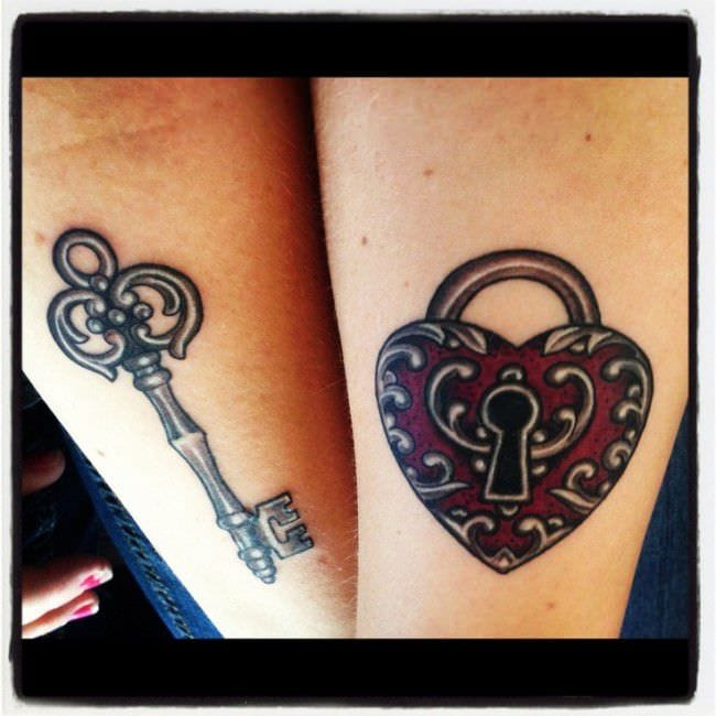 250 lovely matching tattoos for couples wild tattoo art for Married couple tattoos