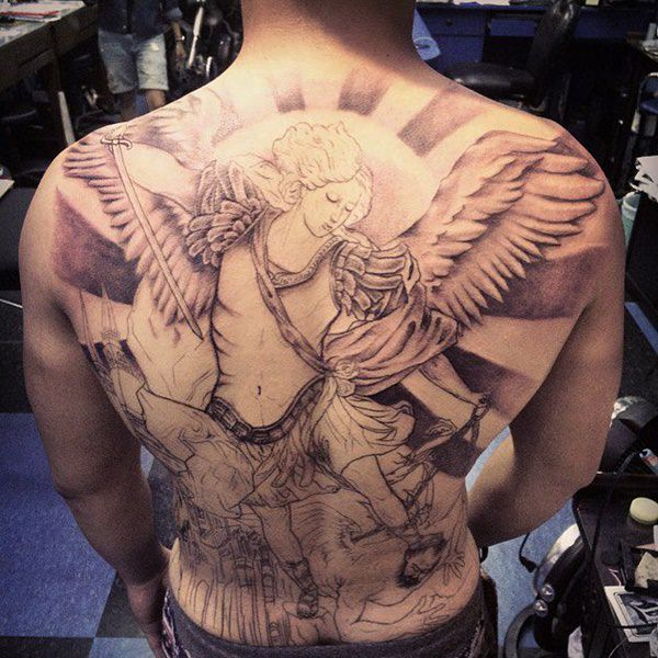 da413b830 155 Charming Angel Tattoos – Most Popular Designs of 2019 - Wild ...