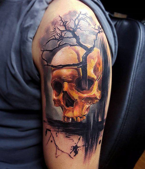 125 kick ass skull tattoos for men women wild tattoo art for Color skull tattoos