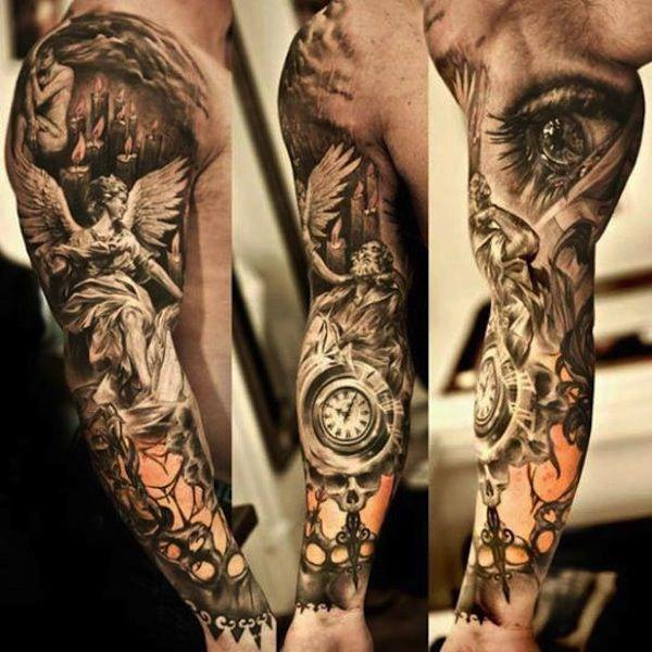 ba5254a3f It's also advisable, and even appropriate at times, to pick a good sleeve  tattoo for men, when you compare it to getting inked on other parts of the  body.