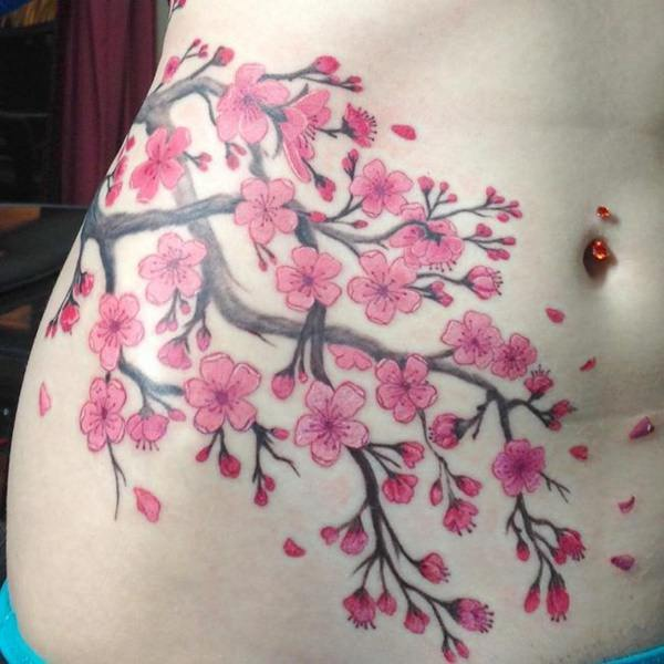 125 best cherry blossom tattoos of 2017 wild tattoo art cherry blossoms with intertwining branches urmus Gallery
