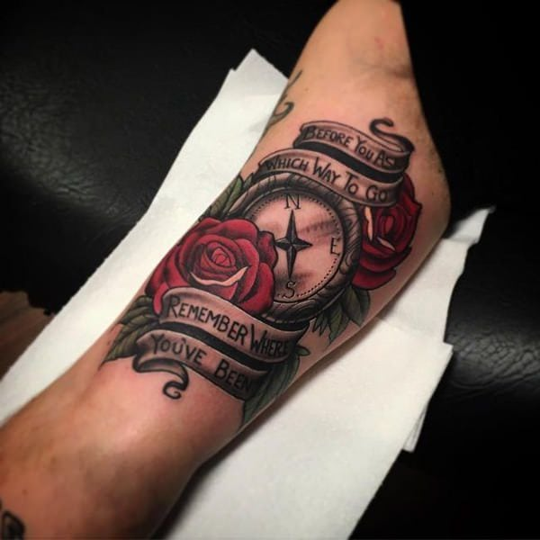 Tattoo Quotes With Roses: 110 Best Compass Tattoo Designs