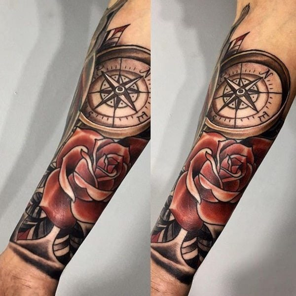 110 best compass tattoo designs wild tattoo art. Black Bedroom Furniture Sets. Home Design Ideas