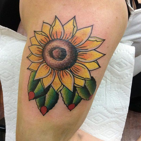 Tribal sunflower tattoo