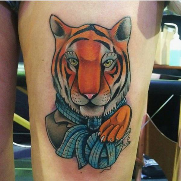 Beautiful Tiger Tattoo Design On Thigh: 195 Top Rated Thigh Tattoos For Female