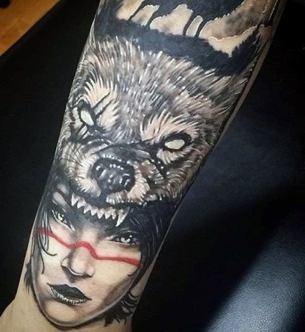 wolf tattoo two face