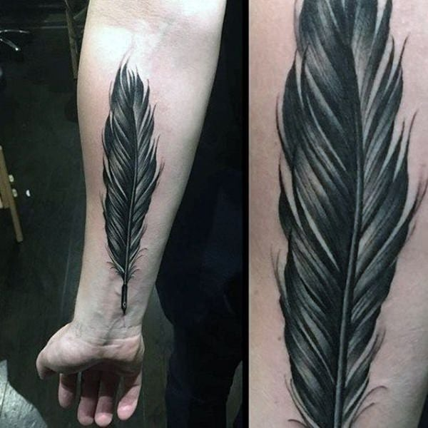 716fbf695307b 125 Stunning Feather Tattoos to Choose From - Wild Tattoo Art