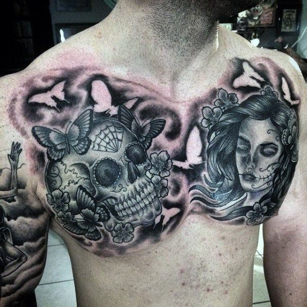 Chest Tattoos For Men Designs Ideas And Meaning: 155 Sugar Skull Tattoo Designs With Meaning
