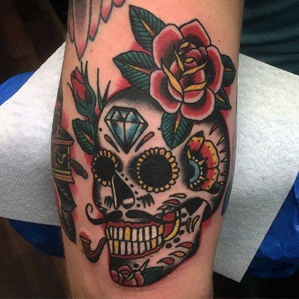 028f95d16 So many people who love sugar skull tattoo designs use this as a way to  commemorate their departed friends and family.