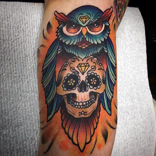 155 sugar skull tattoo designs with meaning wild tattoo art for Owl with sugar skull tattoo