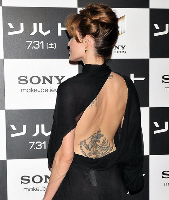 Angelina Jolie Bengal tiger tattoo