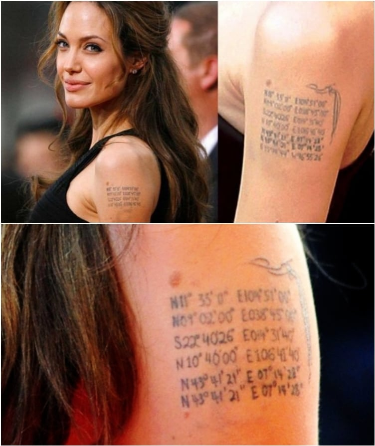 Angelina Jolie's tattoos with meaning