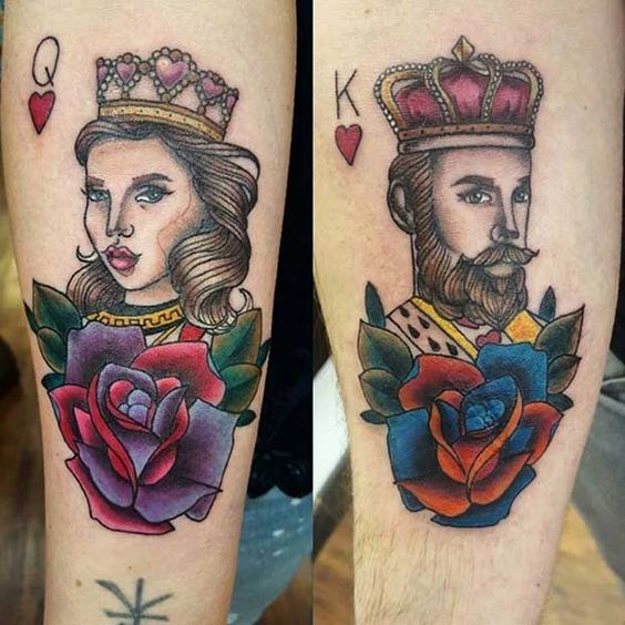Cartoon King and Queen Tattoo