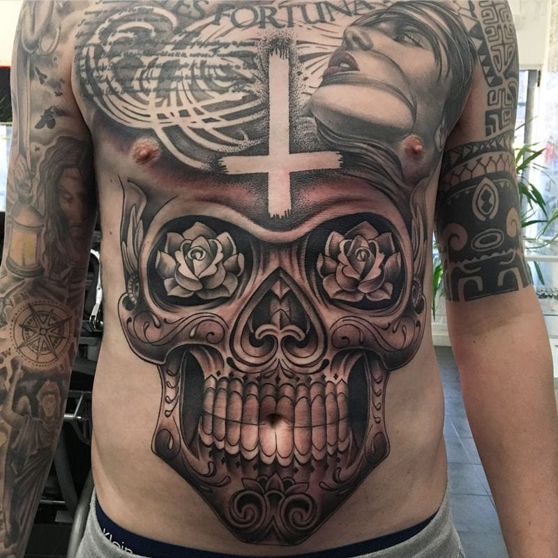 Deadly Skull Stomach Tattoo