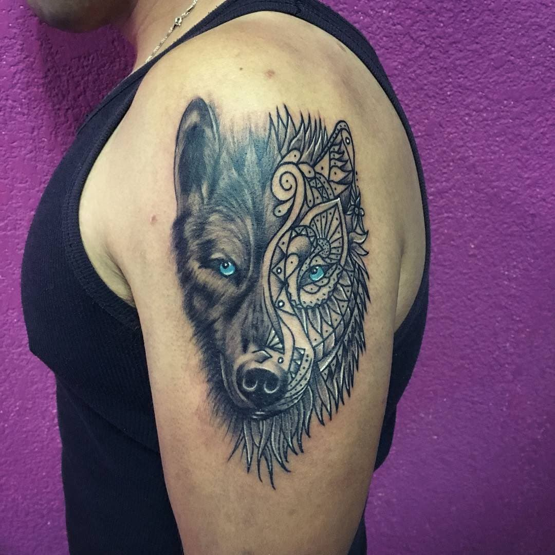 Mandala Wolf Tattoo