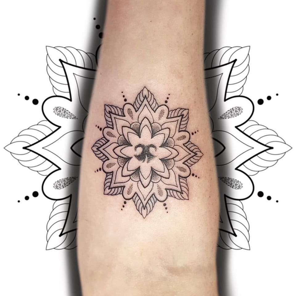 Printed Mandala Design Tattoo