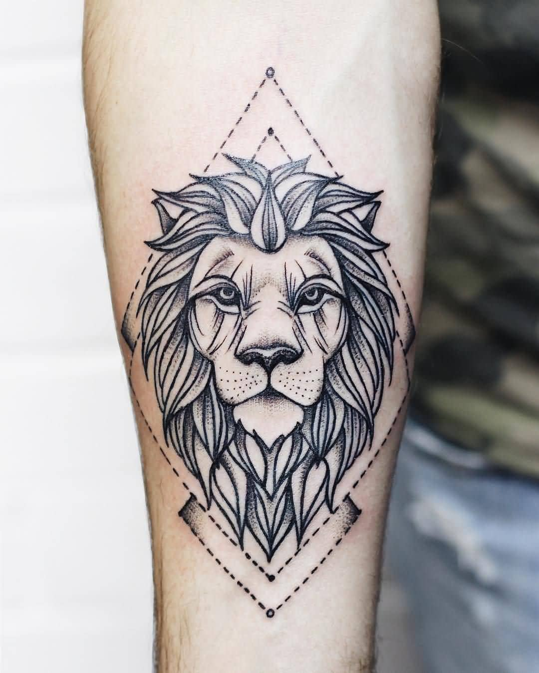 geometric lion tattoo