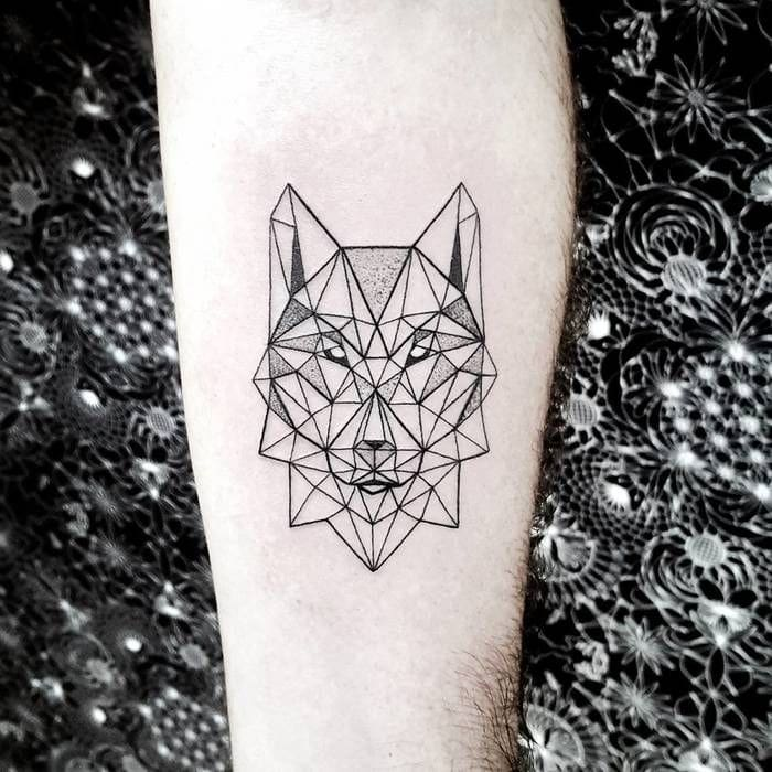 geometric wolf tattoo