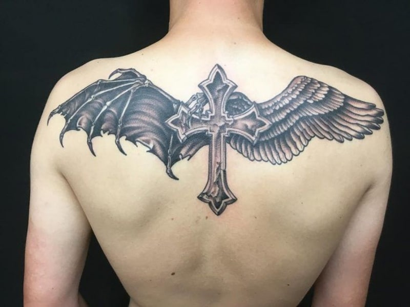 dd8b7b06fb9bd A discreet and smaller tattoo of a pair of angel wings on your neck,  shoulder or wrist may depict that there is an angel who guards you all the  time and who ...