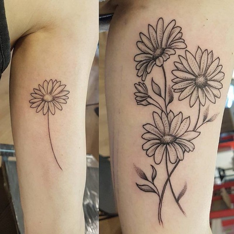 Flower Tattoos Tattoos Floral: 125+ Daisy Tattoo Ideas You Can Go For [+ Meanings]