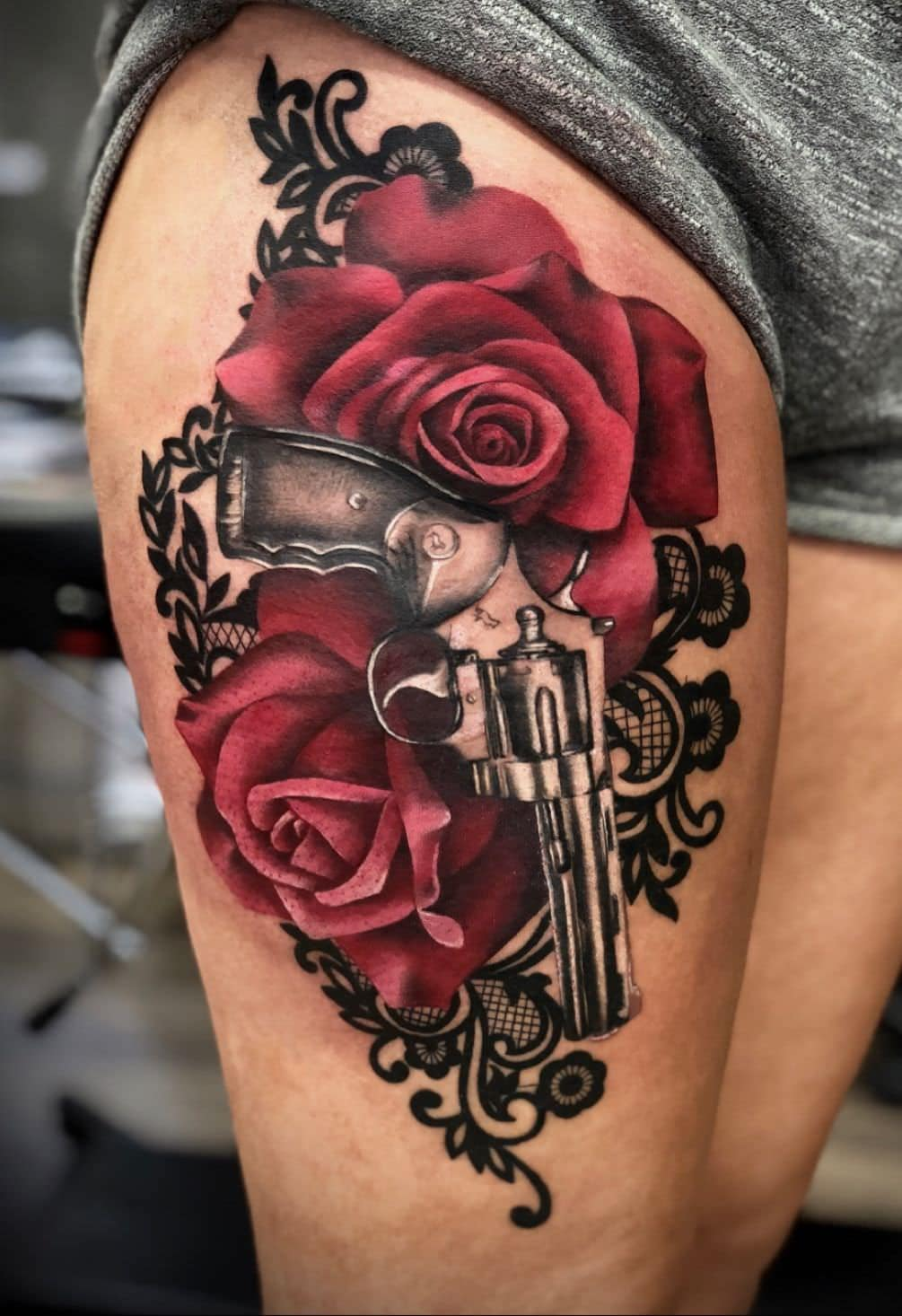 Guns and Roses Thigh Tattoo