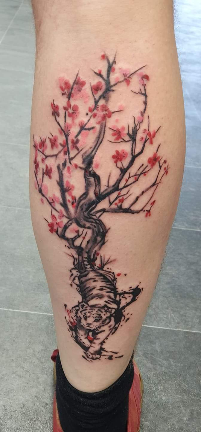 Tiger Cherry Blossom Tattoo