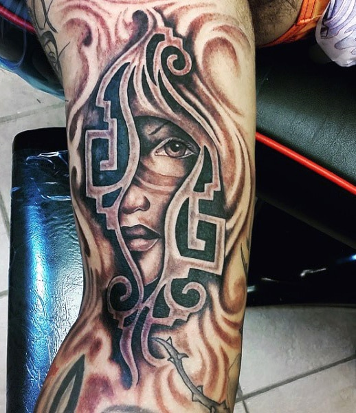 Tribal Woman Aztec Tattoo