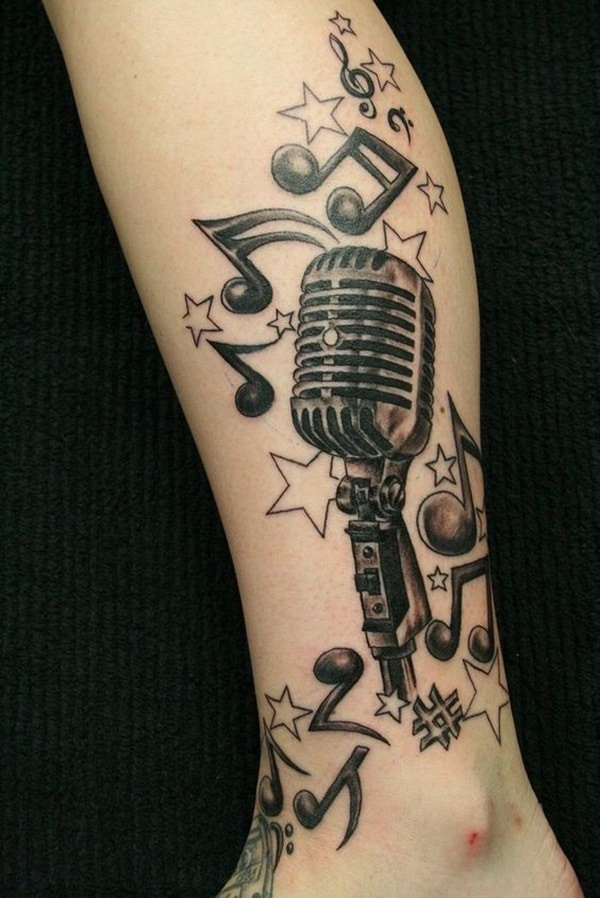 Vintage Microphone Tattoo with Music Notes