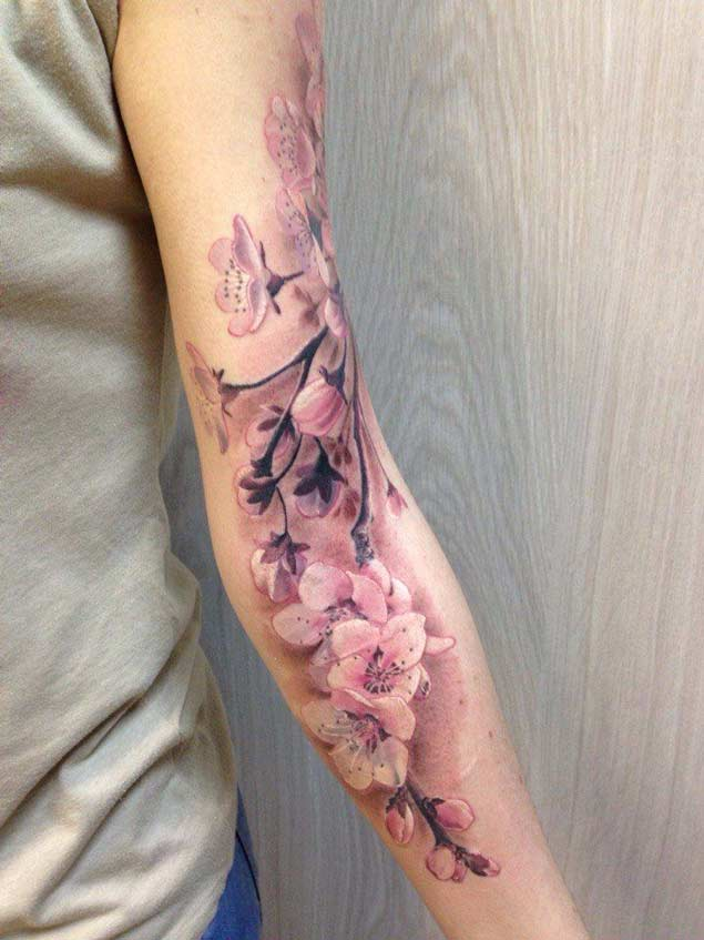 Wandering Cherry Blossom Branch Tattoo