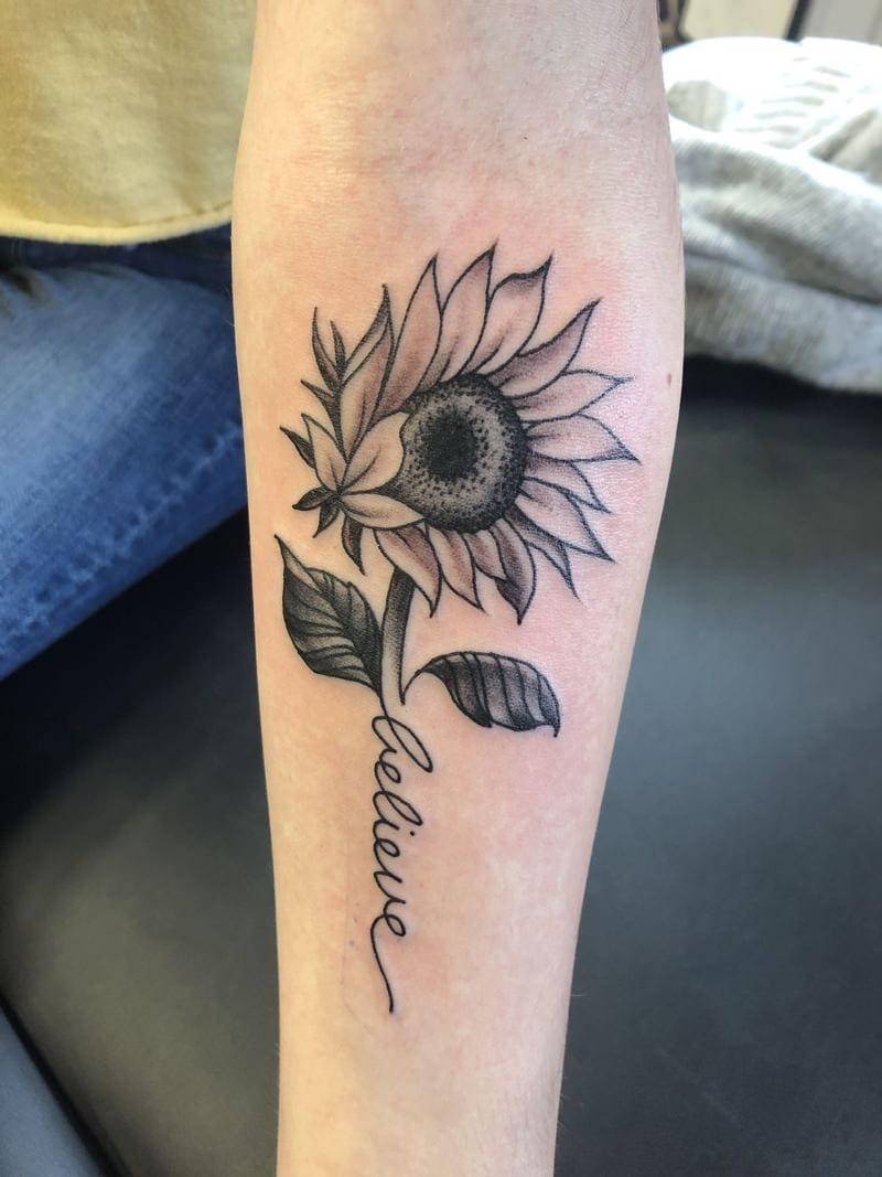 Sunflower tattoo with a Name