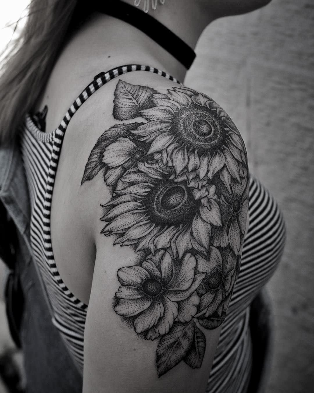 Dimensional Sunflower Tattoo