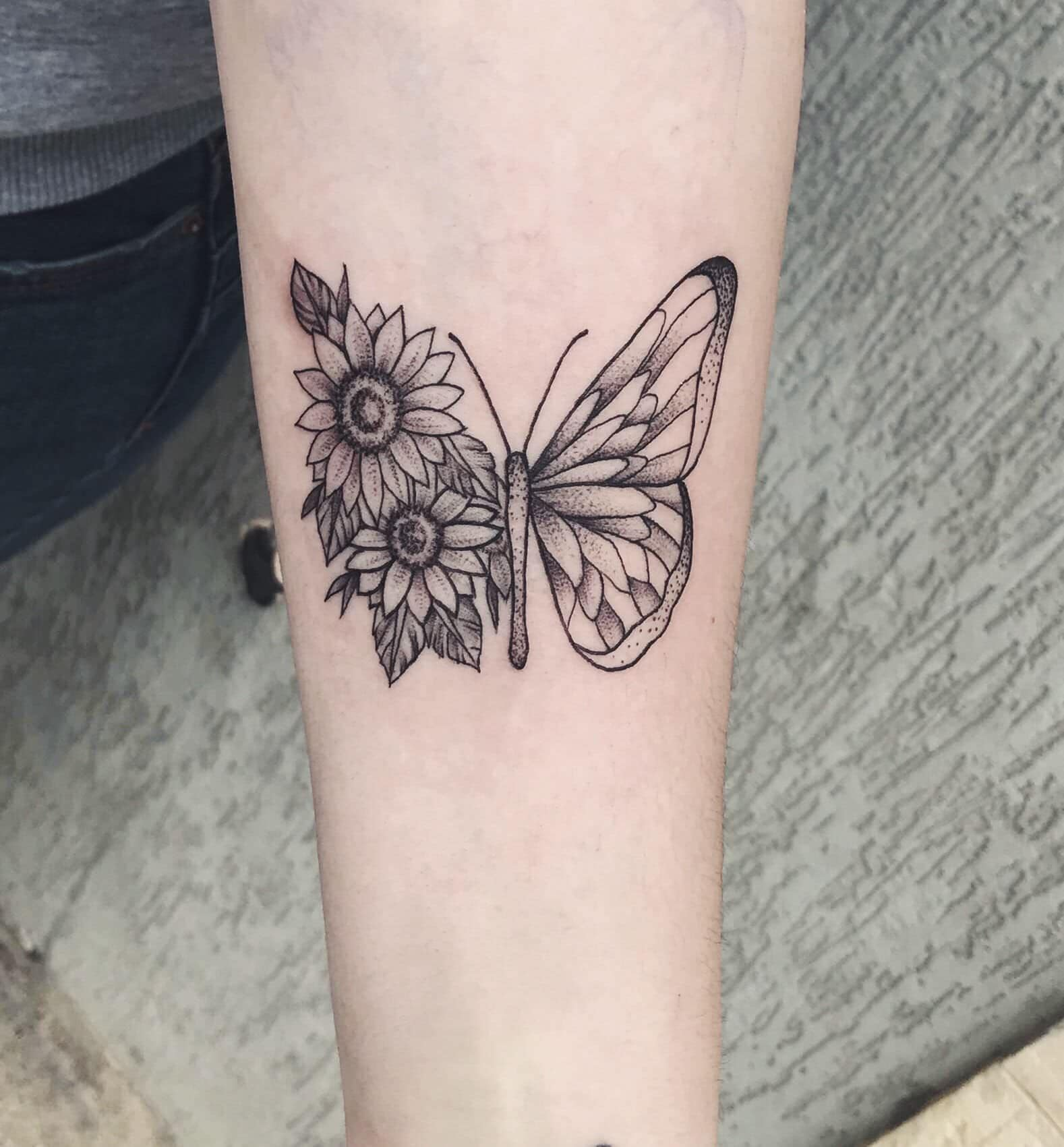Half Butterfly Half Sunflower tattoo