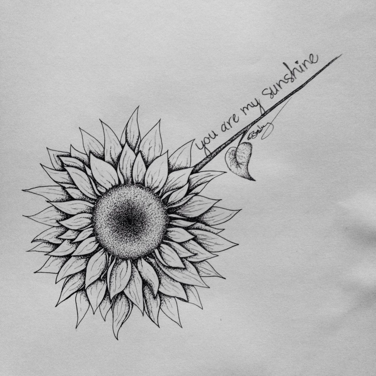 Sunflower Sketch Tattoo