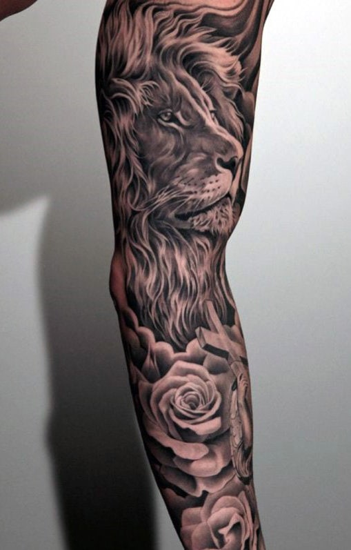 lion and rose sleeve tattoo