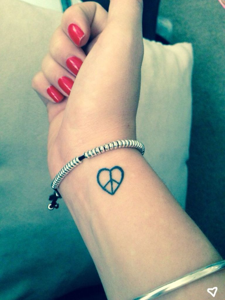 Peace and Love Heart Tattoo