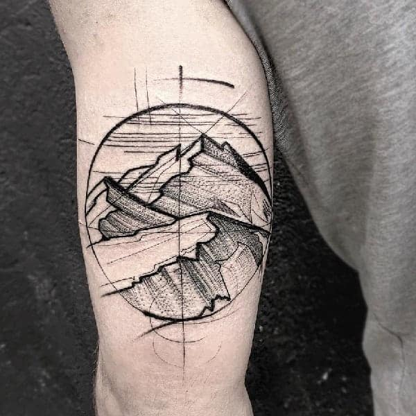 Mountain Traveler Sketch Tattoo