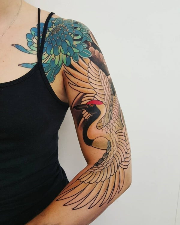 Chrysanthemum Bird Tattoo
