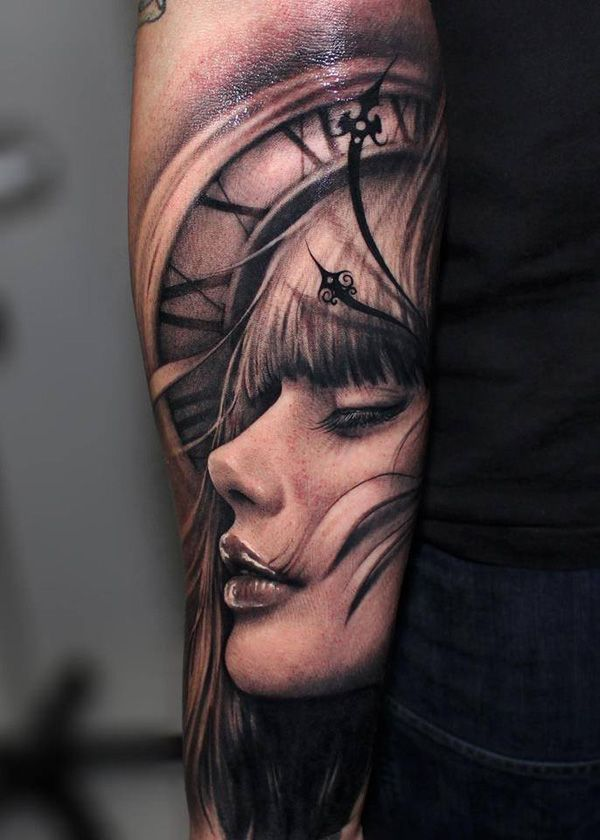 Dramatic 3D Effect Portrait Tattoo