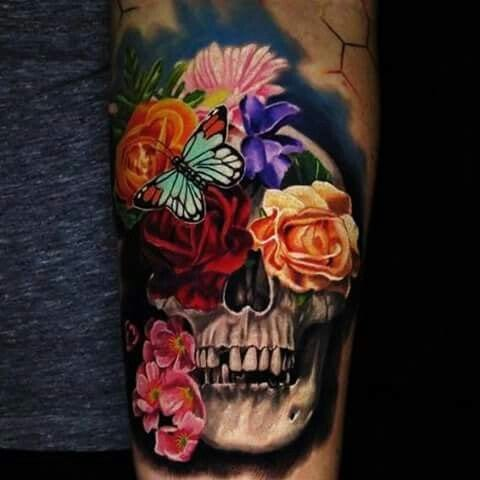 Floral Mexican Skull tattoo