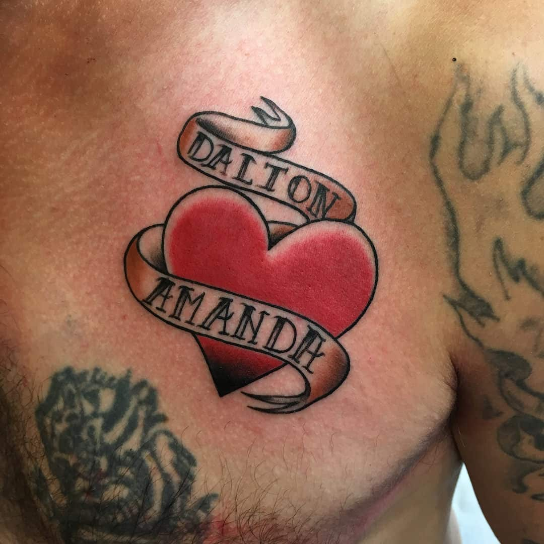 Heart-Shaped Kids Name Tattoo