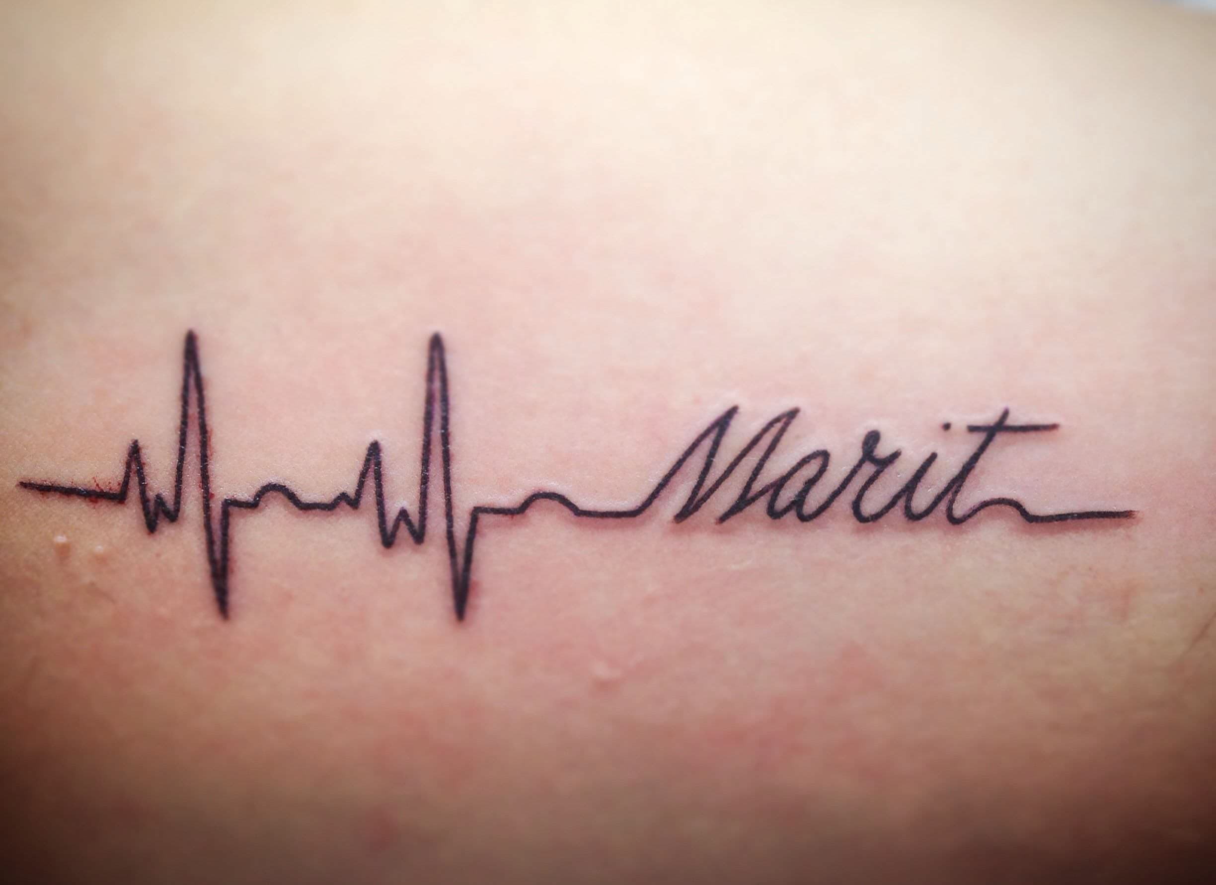 Heartbeat Kids Name Tattoo