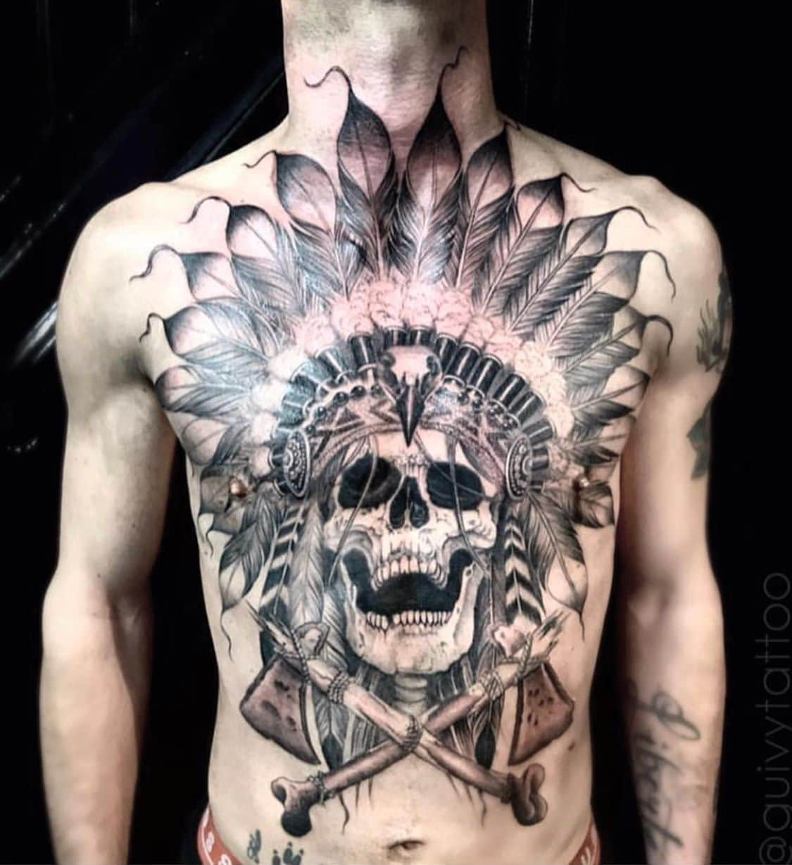 Native American Mexican Skull tattoo