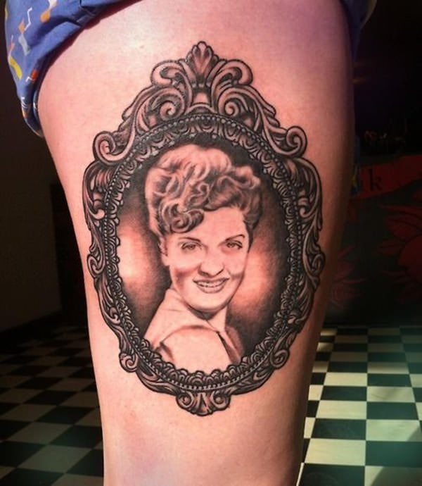 Victorian Framed Portrait Tattoo